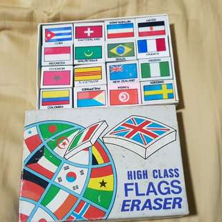 Flag country erasers 48 pieces in a box (vintage)