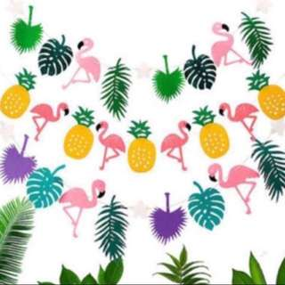 Summer tropical flamingo Bunting garland