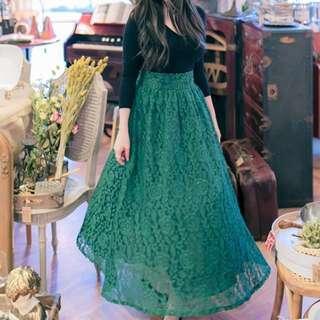 花猴相似款 近全新!正韓綠色蕾絲長裙