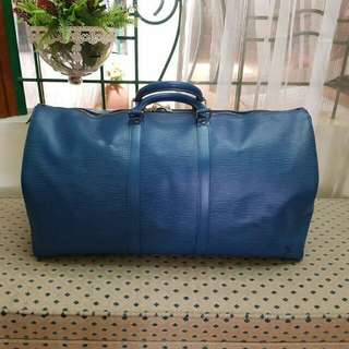 Authentic LV Keepall 55 in Epi Blue