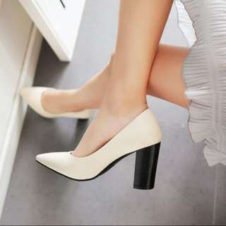 大尺碼小尺碼34-43❤️時尚尖頭粗跟鞋