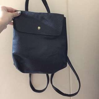 mini leather bagpack