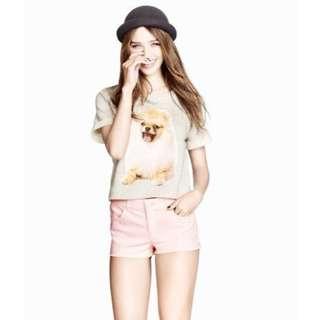 全新 H&M 淺灰色松鼠狗圖案寬鬆短袖T恤