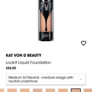 Kat Von D Lock It Foundation 53 Neutral