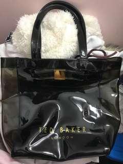 正品 Ted Baker 黑色 PVC 透明 膠 拉鏈 斜揹袋 側背 斜背 單肩袋 斜揹包 手袋 沙灘袋 三宅一生
