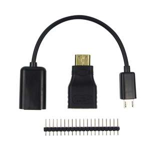 3 in 1 Raspberry Pi Zero Adapter Kit Mini HDMI to HDMI adapter+Micro USB to USB Female OTG Cable + 20 * 2 pin Male GPIO Header RRI 0