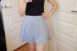 Grey Flare Mini Skirt