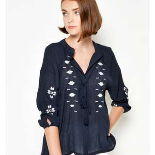 Haena Embroidered Top Navy