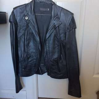 Aurielo Costarella Metallic Real Leather Jacket Size 1 (6-8) new with tags