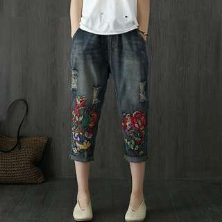 Embroidered Denim Pants
