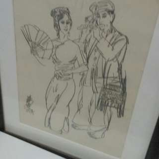 Chinese Painting Of 2 Ethnic Dancers