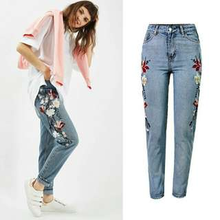 Embroidered Jeans Pencil Pants