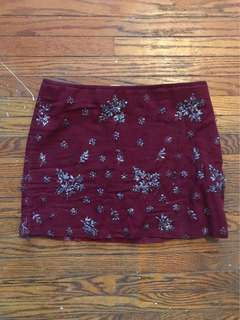 Zara burgundy mini skirt