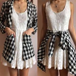 Free size | Black & White Checkered/Gingham Cardigan