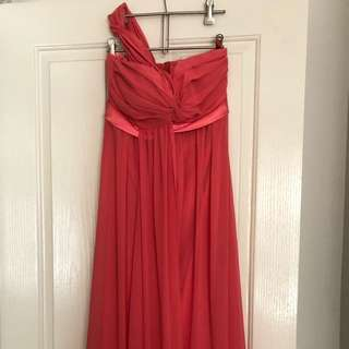 Paco Pm Bridesmaid Formal Dress Coral/watermelon Size 8