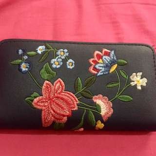Zipper Wallet Navy Blue with Embroidery - Stradivarius