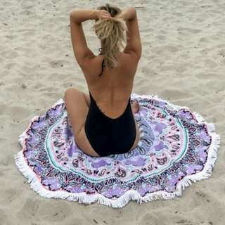 Summer Round Beach Towel with Side Crochet Violet
