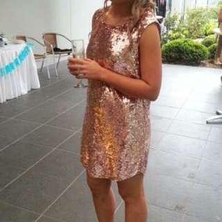 Sportsgirl Rose gold Sequin Dress Open Back