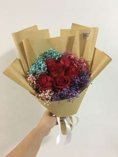 Red Roses with Rainbow Baby Breath
