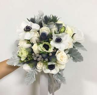 Bridal Bouquet in White Blue and Silver Theme / White Wedding / Bridal Bouquet in Anemones Roses Dusty Miller and Thistle