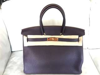 Hermes birkin 35 raisin clemence ghw gold bag