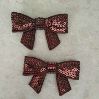 Sew on patch - Brown Bronze Sequins Ribbon