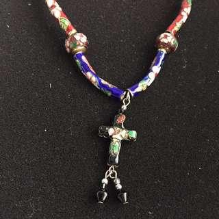 Cloisonné Bead Cross Necklace