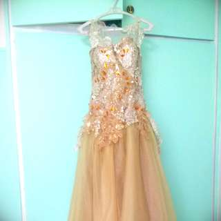 Gown with a dazzling champgne color