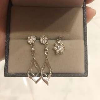 Dangling earrings and pendant set