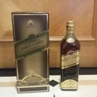 @舊裝連盒Johnnie Walker 15 Yr Gold Label 43% 75cl Blended Whisky 尊尼獲加金牌15年調和威士忌