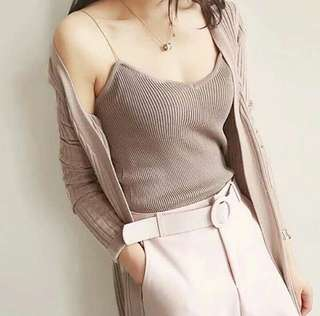 Mila Knit Tank Top in COFFEE