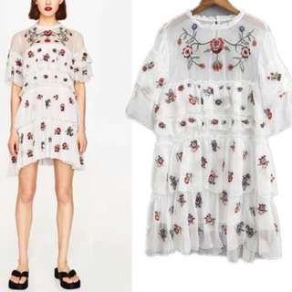 Embroidered Ruffle Dress $97.90