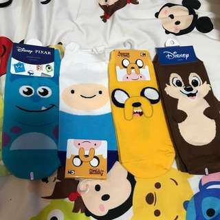 monsters inc/chip and dale/adventure time socks