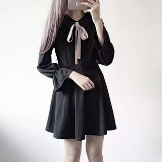 •PO• Japanese Black ribbon tie front Dress