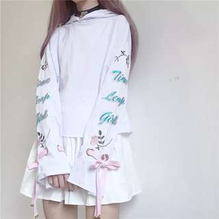 •PO• HARAJUKU FLORAL PATTERNED SLEEVES PULLOVER