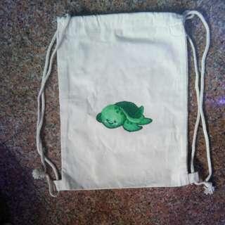 Turtle canvas drawstring bag