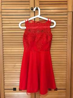 Red Lace Dress, With Padded Bras