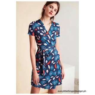 Feather Print Wrap Dress