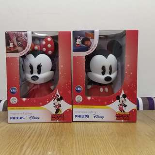 全新 正貨 Philips 飛利浦 Disney 迪士尼 一套2盒:米奇+米妮 LED 檯燈 夜光燈
