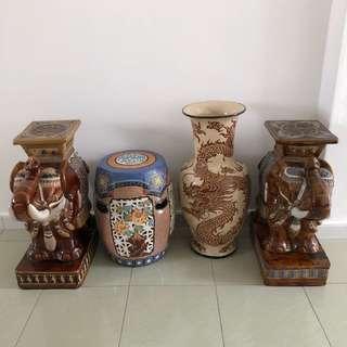 Large vase and stool (elephant sold)