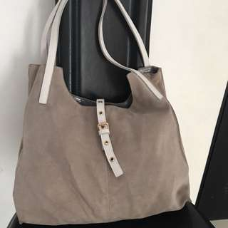 leather suede totebag
