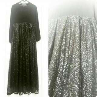 Umayma Dress Payet Hitam Sequinned Baju Gaun Pesta Gamis Hitam Pesta