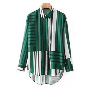 European and American style mixed spell color lapel loose long-sleeved shirt