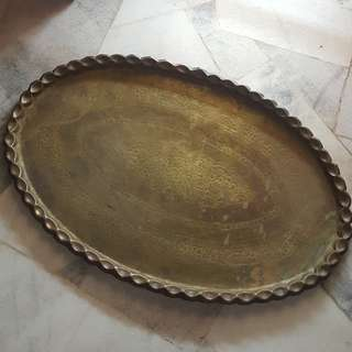 Antique brass large oval tray