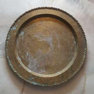 Antique brass round tray