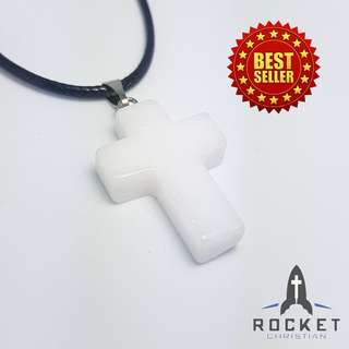 Pure White Natural Stone Cross Necklace (Available Now)