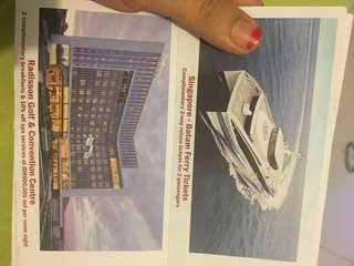 Majestic ferry voucher ticket and radison golf hotel