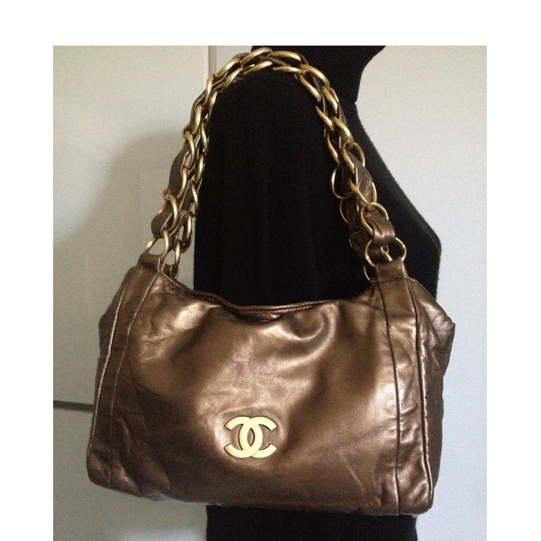 100% CLASSIC CHANEL Bronze Leather CC Gold Chain Oslen Shoulder Hobo Tote Bag