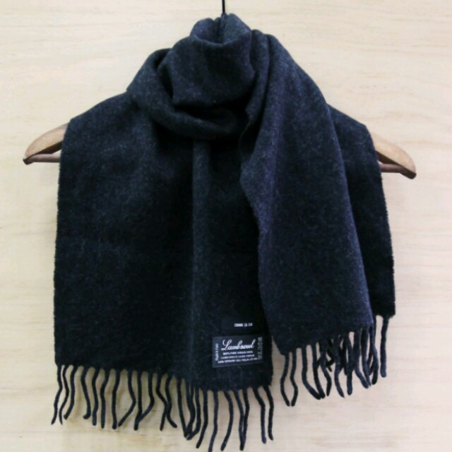 100% wool 全羊毛 深灰圍巾 comme ca ism 義大利製 處女羊毛 古著 vintage
