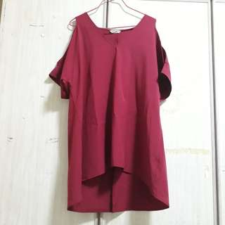 Red wine cold shoulder top